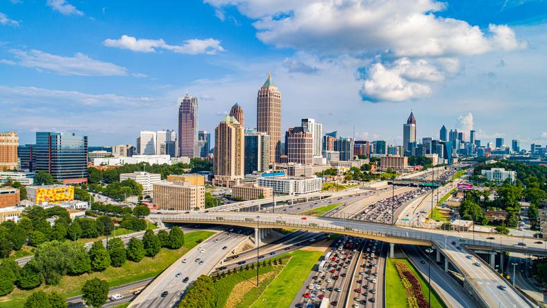 Atlanta Georgia GA Drone Skyline Aerial.