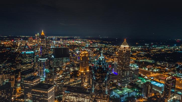 aerial night view shot of metro atlanta